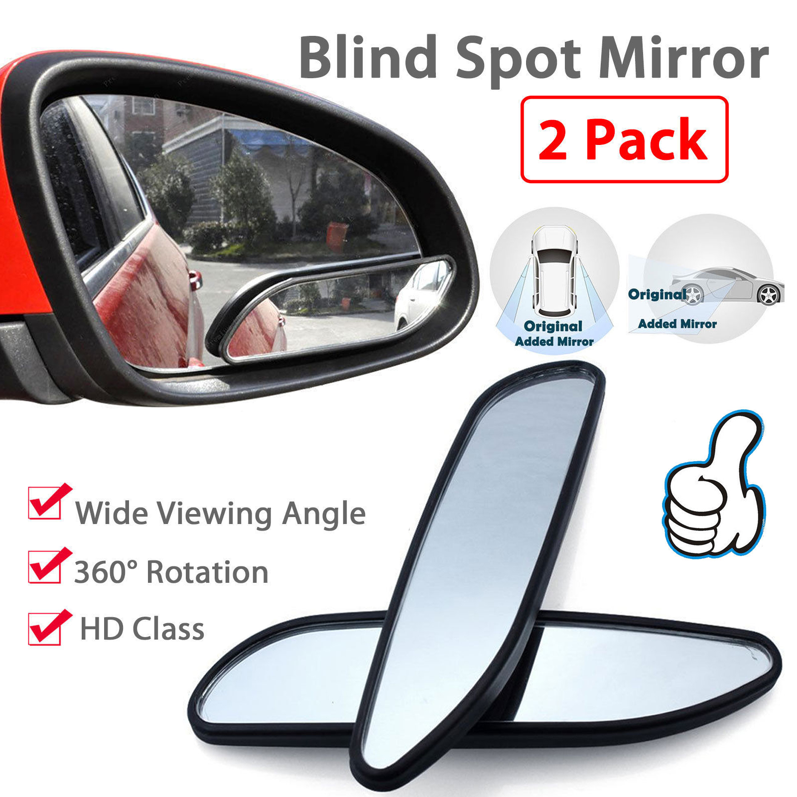 2pcs auto 360 wide angle convex rear side view car truck suv blind spot mirror [ 1600 x 1600 Pixel ]