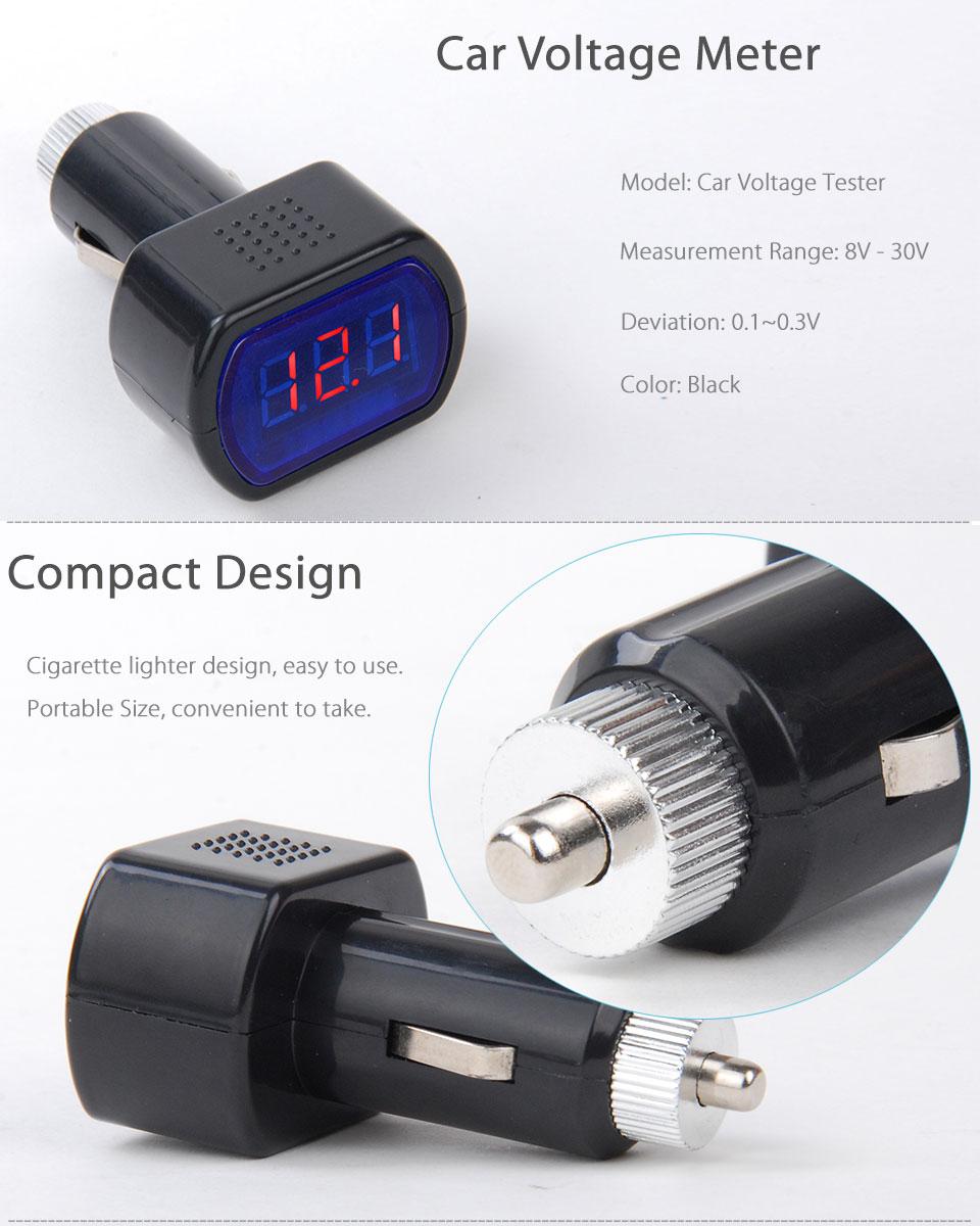 Led Car Battery Electric Cigarette Lighter Voltmeter