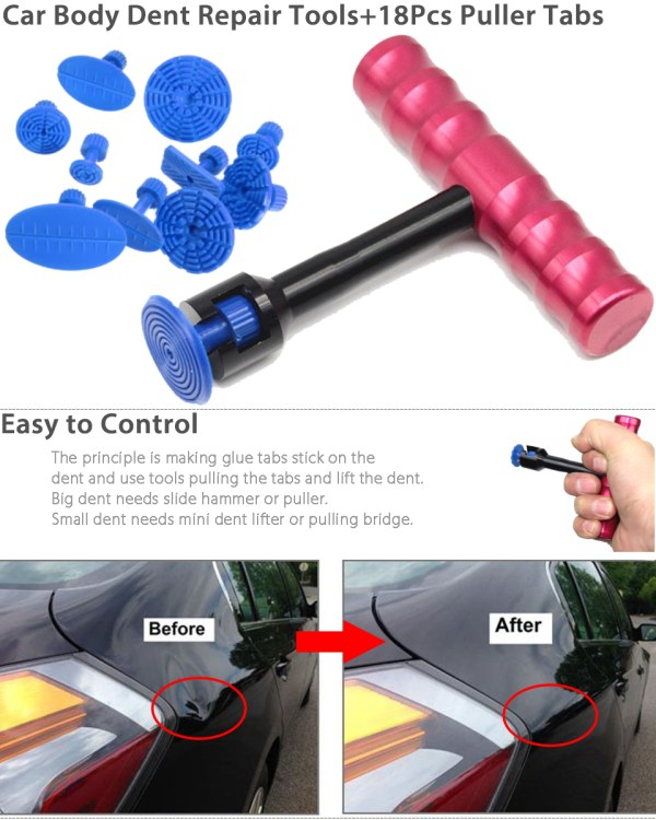 T-bar Car Body Panel Paintless Dent Removal Repair Lifter Tool 18pcs Puller Tabs 605945683990