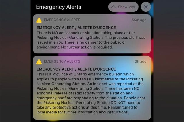 An emergency alert sent to cellphones through the provincial emergency reporting system around 7:30 a.m. on Jan. 12, 2020, was a