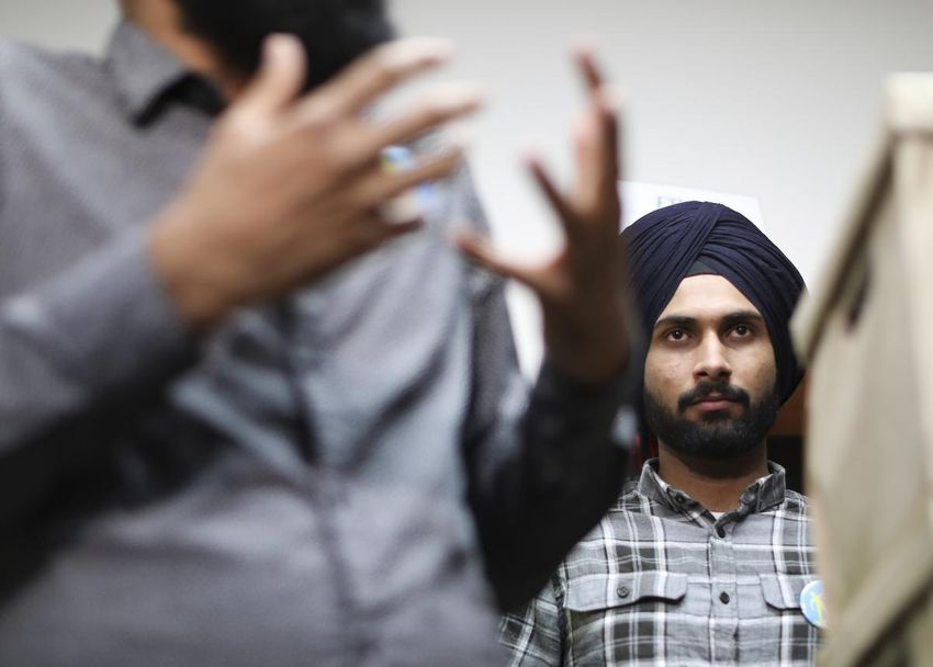 Jobandeep Singh Sandhu, an international student from India, was removed from Canada after immigration officials found that he worked more than the 20 hours per week his study permit allowed. He is seen here during a protest in front of Immigration Minister Ahmed Hussen's Toronto office in May.