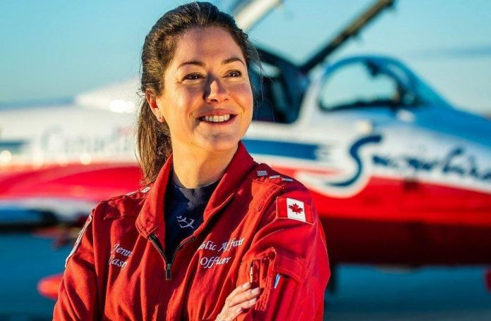 Capt. Jenn Casey, shown in an undated photo from the Royal Canadian Air Force Twitter page, died Sunday after a Snowbird plane crashed in a residential area of Kamloops, B.C. while on a cross-country tour meant to impart hope during the COVID-19 pandemic.