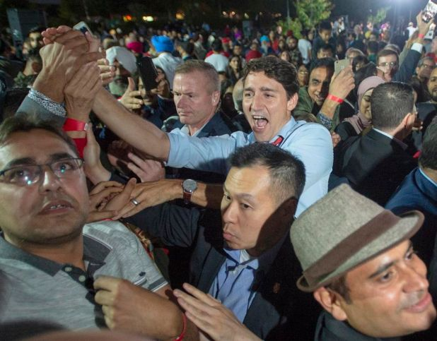 Federal Liberal Leader Justin Trudeau greets supporters at a campaign rally in Surrey, B.C., on Sept. 24.