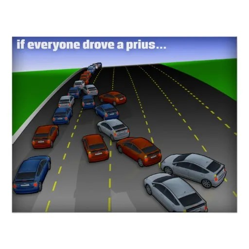 Left Lane Priuses courtesy zazzle.com