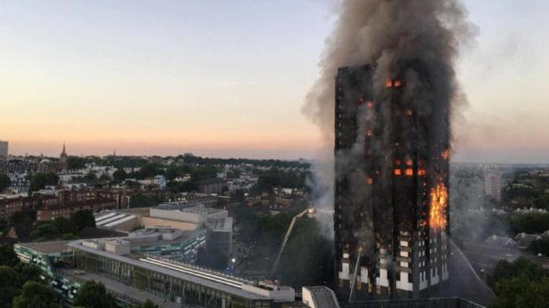 Flames and smoke coming from the Grenfell Tower 27-storey block of flats that killed 72 people.