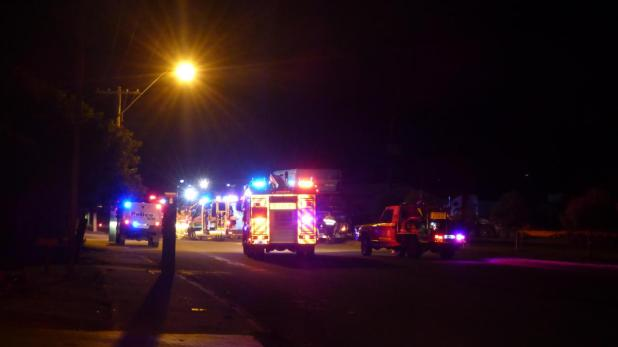 Emergency vehicles on the scene of last night's accident.