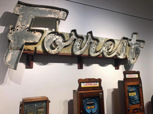 The old Forrest Drive-In Cinema sign on display at Bunbury Museum and Heritage Centre as part of celebrations for Bunbury turning 40 as a city.