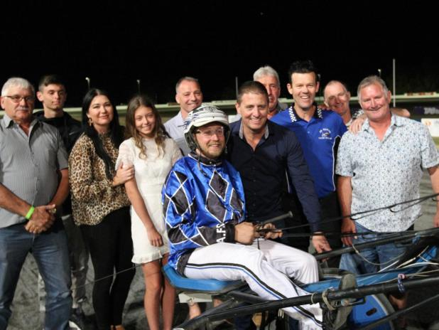 Owners of Handsandwheels celebate with the Furphy Bunbury Pacing Cup