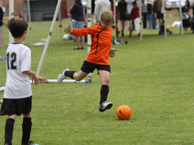 Bridgetown Forest goalkeeper Sydney Loy prepares to take a goal kick.