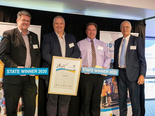 Shire of Narrogin chief executive Dale Stewart, president Leigh Ballard, Shire technical and rural services executive manager Torre Evans, Keep Australia Beautiful Council WA chairman Michael Aspinall.
