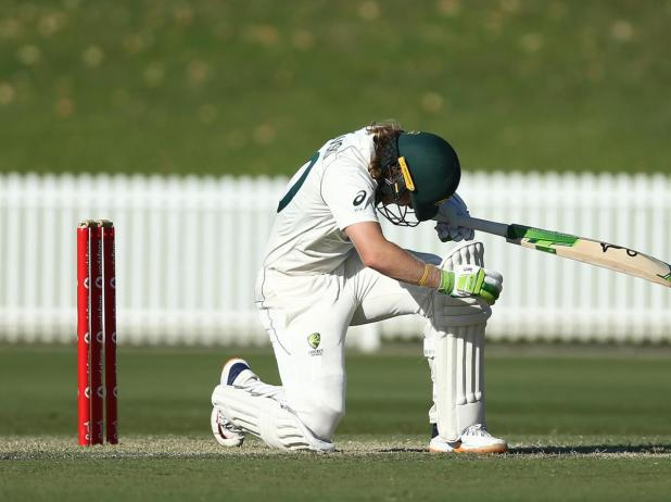 Will Pucovski of Australia A is struck in the helmet off the bowling of Kartik Tyagi.