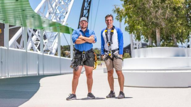 Matagarup Zip and Climb operations manager Sam Johnson and owner Ryan Zaknich are excited to launch the bridge climb on Australia Day next year.