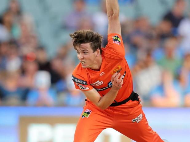 Jhye Richardson of the Perth Scorchers bowls during the Big Bash League match.