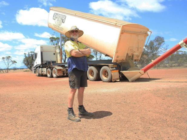 Barloo farm's cropping overseer Alister Clark transfers another load of Barfeed pellets.