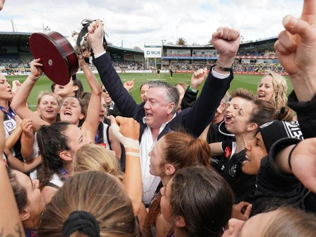 *This picture has been selected as one of the Best of the Year Sports images for 2019* Eddie McGuire, president of the AFL Collingwood Football Club celebrates with Magpies players after winning the the VFLW Grand Final.