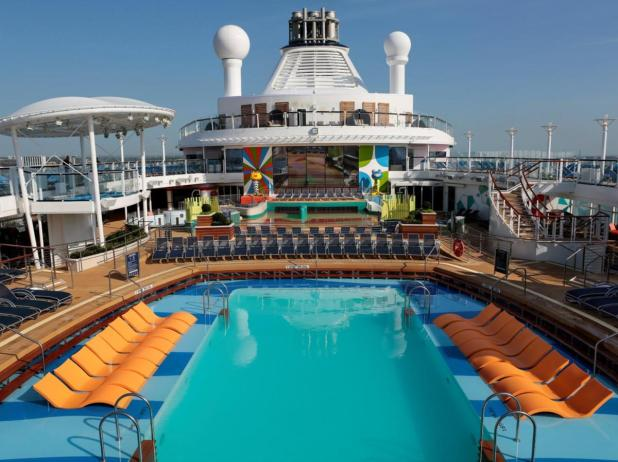 The ship's huge pool deck.