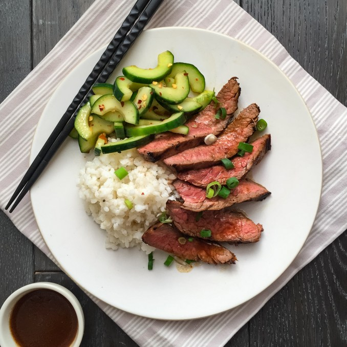Best Korean-Style Grilled Flank Steak with Spicy Cucumbers