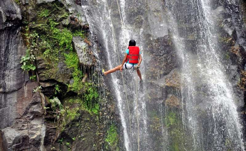 Image result for waterfall rappelling in rishikesh