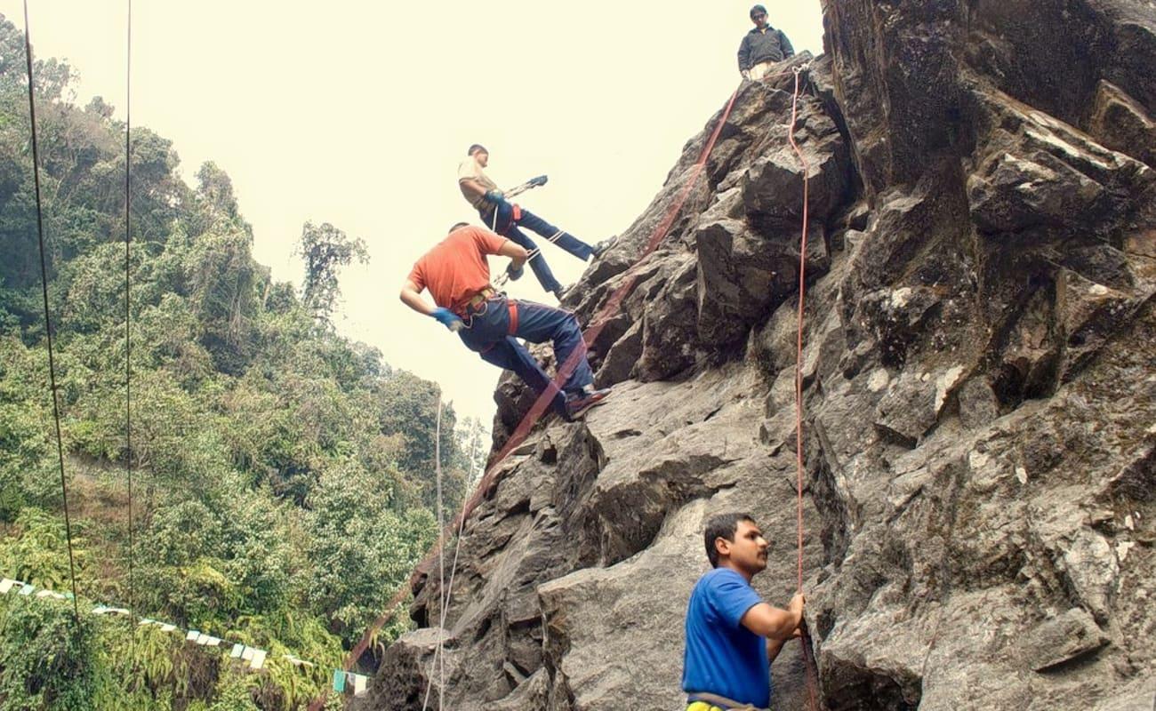 Rappelling Rock Climbing