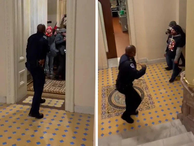 Black officer Eugene Goodman hailed as a hero for leading Capitol rioters away from lawmakers(video)