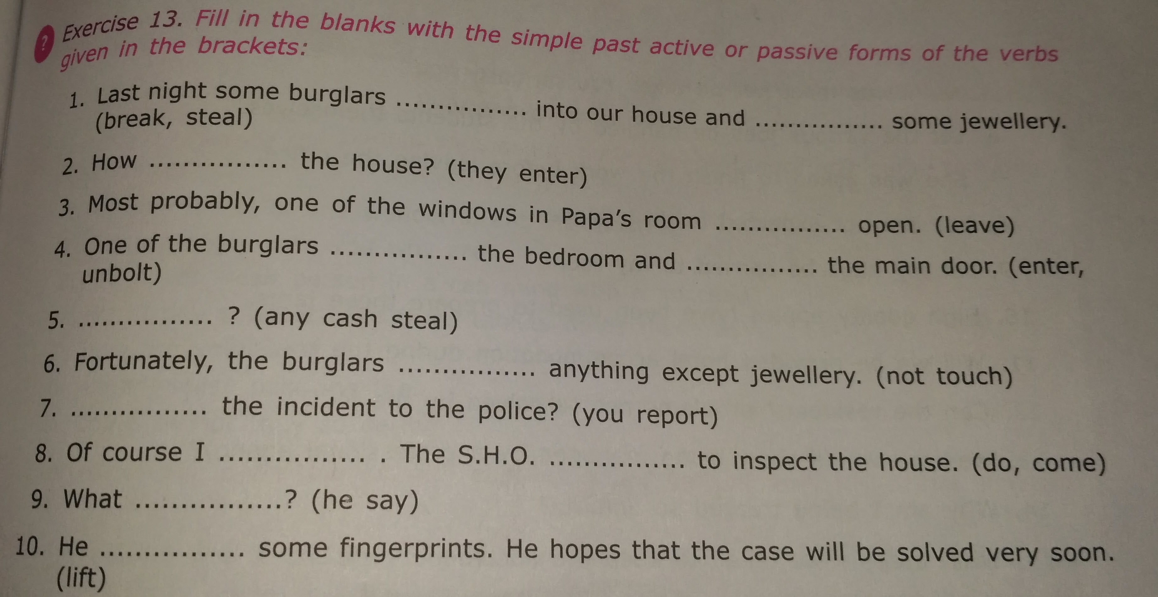 Questions And Answers Of Grammar Verbs Of Icse Class 6