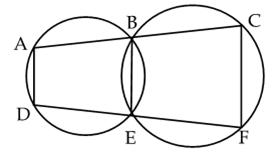 in the figure b and e are points on line segment ac and df