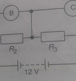 what would you expect the voltmeters a b and c to read assuming that the connecting wires in the circuit have negligible resistance  [ 1373 x 621 Pixel ]