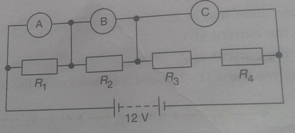 medium resolution of what would you expect the voltmeters a b and c to read assuming that the connecting wires in the circuit have negligible resistance
