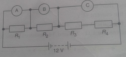 small resolution of what would you expect the voltmeters a b and c to read assuming that the connecting wires in the circuit have negligible resistance