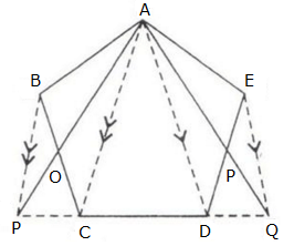 in the adjacent figure abcd is any pentagonbp drawn