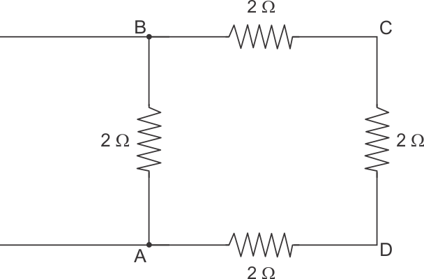 four resistors of 2 Ω each are joined end to end to form a