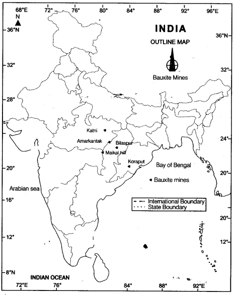 locate the mines of bauxite on the physical map of india