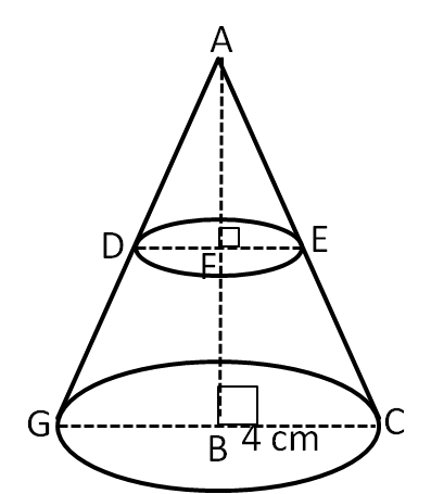 a cone of radius 4 cm is divided into two parts by drawing