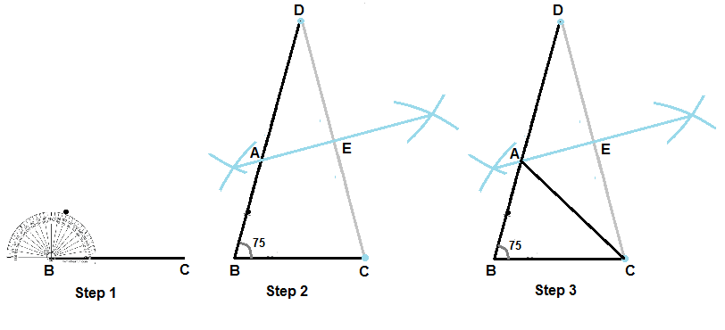construct a triangle abc in which bc 5 cm angleb 75 and ab