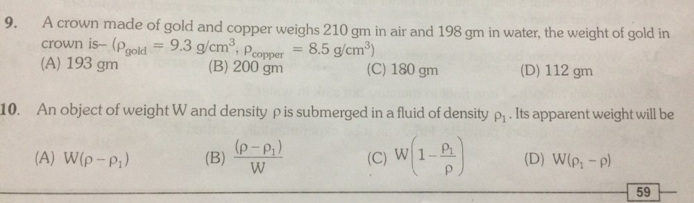 medium resolution of relative density Questions and Answers - TopperLearning