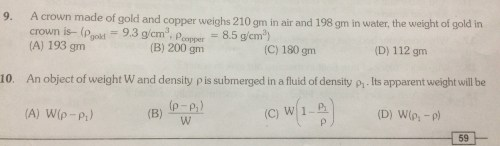 small resolution of relative density Questions and Answers - TopperLearning