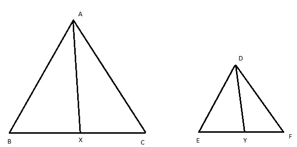 in two triangles abc and def if ab ac and ax median are