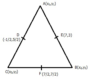if d 1 2 5 2 e 7 3 and f 7 2 7 2 are the mid points of