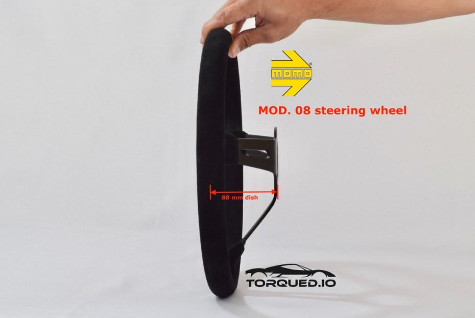 Dish measurement on MOMO MOD. 08 steering wheel