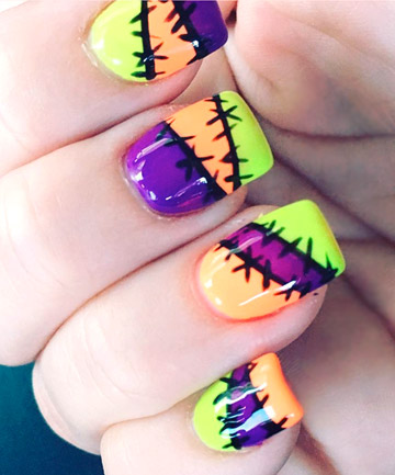 Scary Sching These Sched Up Nails Have Us Channeling Our Inner Sally Skellington To Pull Off This Nail Art Pick Three Of Your Favorite