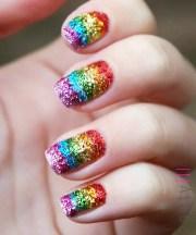 rainbow nails with sparkle