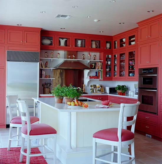 coral kitchen cabinet colors Colorful Kitchens with Charisma | Traditional Home