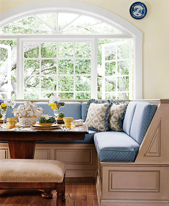 kitchen banquette ikea storage cabinets smart beautiful banquettes traditional home the light blue and champagne hues of this plush corner dining bench give off aura a in english countryside