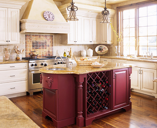red kitchen islands ikea step stool savvy island storage traditional home designed as a focal point this oxblood optimizes the s capacity by housing built in wine and refrigerator