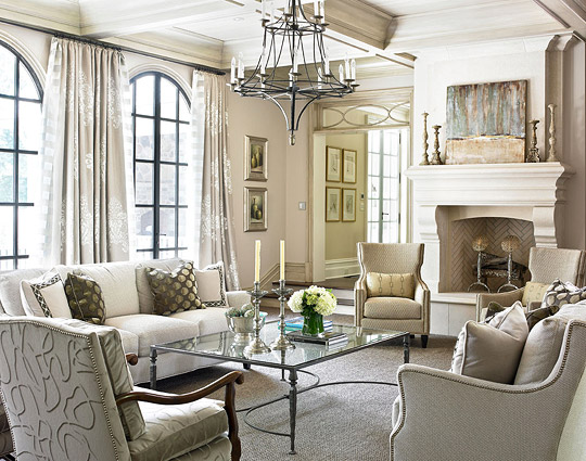 Dream House Transitional Living Room Home Decor Chandelier White Fireplace and Mantel