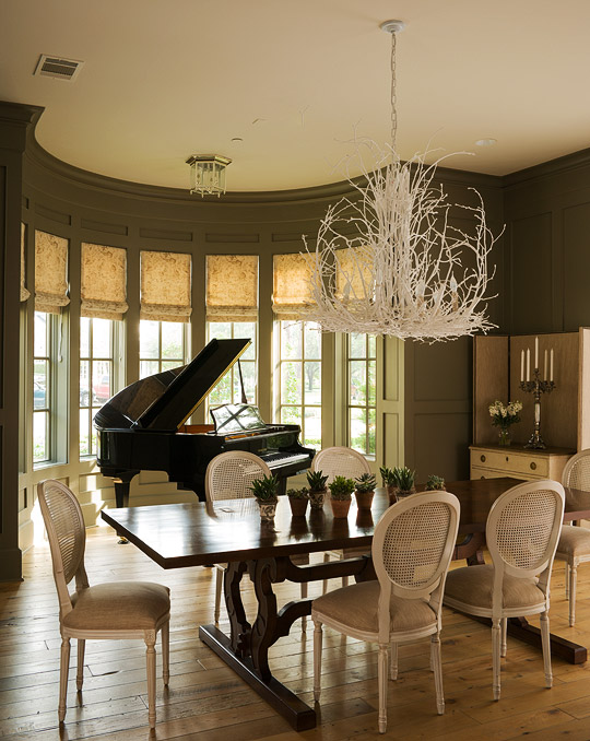 green dining room table and chairs best beautiful rooms traditional home silhouetted against a demilune bay window glossy black piano provides dramatic focal point for painted earthy
