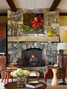Rustic Fireplace Mantle On Stone