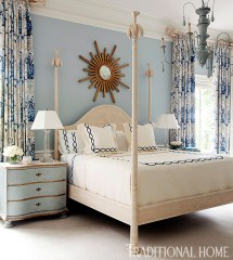 Blue White and Gold Bedroom