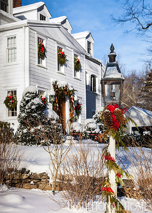 Christmas in a New England Clapboard  Traditional Home
