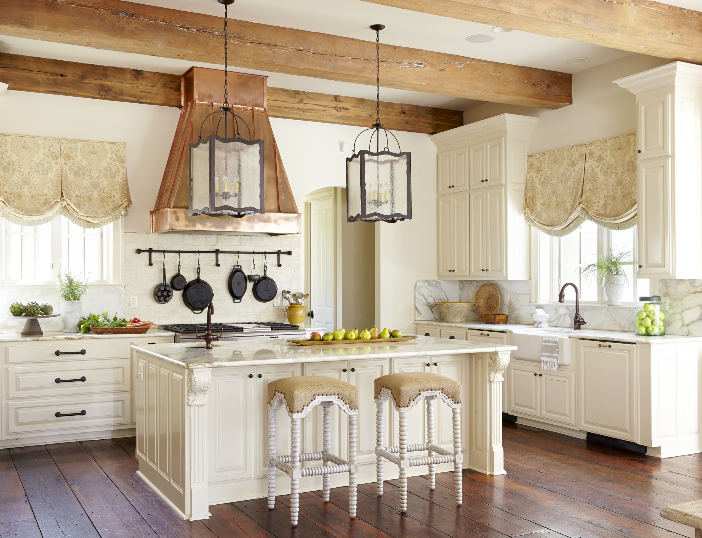 french country kitchen island swag curtains kitchens traditional home